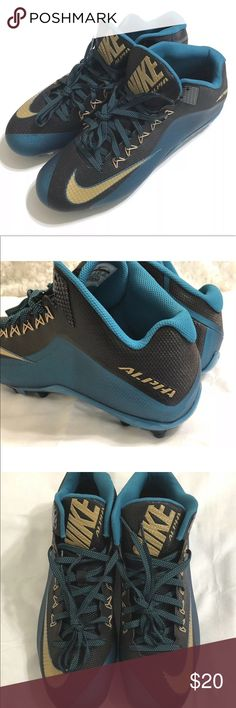 d6d331bcfe49 Shop Men s Nike Blue Gold size 15 Athletic Shoes at a discounted price at  Poshmark. Description  Nike Alpha Pro 2 TD Blue Cleats Size  15 Brand New  Without ...