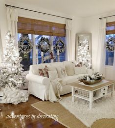 Adventures in Decorating: Our 2019 Christmas Home Tour . English Christmas, Very Merry Christmas, Rustic Christmas, Christmas Lights, Christmas Décor, Flocked Trees, Barn Signs, White Ornaments, Luxury Vinyl Plank