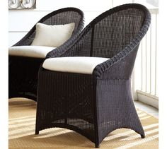 MASTER OUTDOOR AND  ART NOOK  Palmetto All-Weather Wicker Dining Chair - Black | Pottery Barn