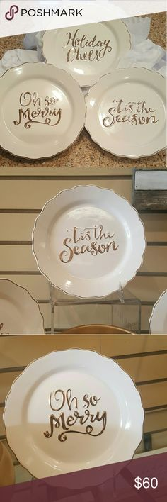 New, Christmas Decorative Desert Plates *LAST SET* THREE, NEW, Christmas Decorative Desert Plates. Thick Ceramic. 'TIS THE SEASON,  OH SO MERRY, And HOLIDAY CHEER Are Written In Gold. Gold Trim. Beautiful! Great To Use For Serving Food Or To Use For Holiday Decor! SO ELEGANT! Great Gift Idea! PURCHASE PRICE: $43.99 Each ($131.97 Without Tax). GREAT BUY! $55.00+Shipping in my closet on Merc*ari! PRICE FIRM! Accessories