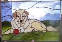 hond stained glass dog - lab?