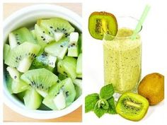 Dincolo de savoarea sa unică, kiwi este un fruct foarte hrănitor. Conține cantități mari de vitaminele C, K și E, acid folic, fibre, potasiu, calciu, magneziu, fosfor Happy Drink, Yummy Food, Tasty, Health Snacks, Juice Cleanse, Dental Health, Healthy Smoothies, Healthy Life, Food And Drink