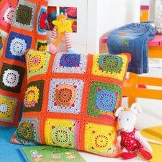 Tecendo Artes em Crochet: Almofada Colorida!