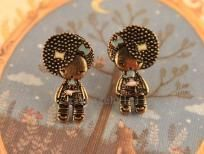 Vintage Style Little Girl w/Afro & bows stud earrings~Free Shipping