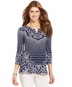 a7c5115711b9b Shared Via JustSales  Be a style standout in JM Collection s chic  graphic-print tunic, featuring a keyhole cutout along the neckline.