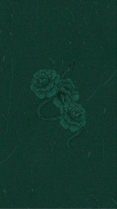 Dark green roses/snake wallpaper