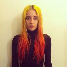 Yellow and orange hair