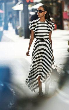 Платье из трикотажа летнее в полоску