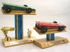 Pinewood derby trophies and display in one