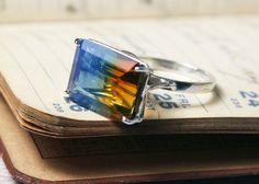 Bicolor Citrine Ring Blue and Orange Gemstone by BendTheFish