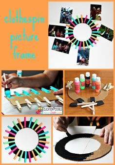 She painted the cardboard circle black, so the clothespins would pop even more.  After everything was dry, she used a hot glue gun to attach the clothespins to the front of the cardboard.  Then she just clipped on her pictures. Older kids enjoy changing out their pictures frequently and this frame makes it incredibly easy.