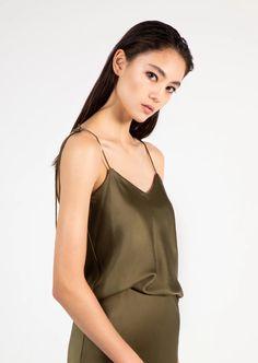 in olive green silk charmeuse Silk Charmeuse, Green Silk, Olive Green, Hand Sewing, Camisole Top, Silhouette, Blazer, Tank Tops, Sexy