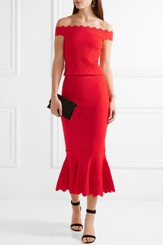 Jonathan Simkhai | Off-the-shoulder cropped textured stretch-knit top | NET-A-PORTER.COM