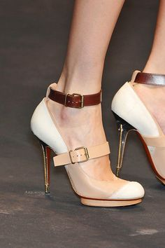 Lanvin 2010-Beige Double Platform Mary Jane with White Toe-Cap and Ankle Strap