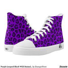 Purple Leopard Black Wild Animal Print Printed Shoes
