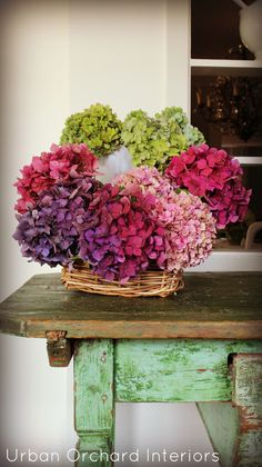 dried hydrangeas are pretty but I REALLY like the table......