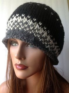 Hand Knit Wool Hat Beanie  Slouch Designer Fashion Hip Black White Gray Chic #Handmade #HatBeanieSlouchBeret
