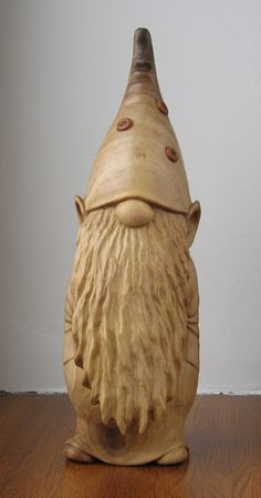 Gnome - Wooden figurine, hand carving by WoodSculptureLodge on Etsy