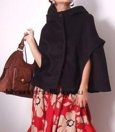 Black Wool Hoodie Cape Poncho Cloak Batwing bolero. via Etsy.