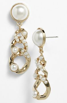 Givenchy Glass Pearl Link Drop Earrings available at #Nordstrom