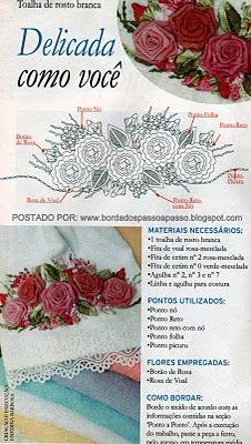 BORDADOS COM FITAS EM TOALHAS DE ROSTO PASSO A PASSO
