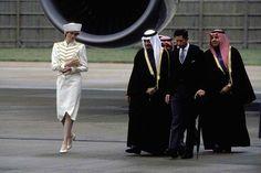 March 24 1987 Charles & Diana greet  King Fahd at Gatwick Airport.