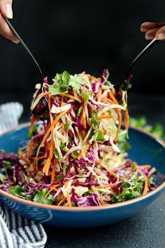 Cilantro Coleslaw Vegan Coleslaw vegan recipes using coleslaw mix Bacon Recipes, Mexican Food Recipes, Vegetarian Recipes, Cooking Recipes, Healthy Recipes, Keto Recipes, Red Cabbage Recipes, Zone Recipes, Kale Salad Recipes
