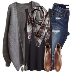 Gray oversized cardigan, plaid scarf & ripped denim by steffiestaffie on Polyvore