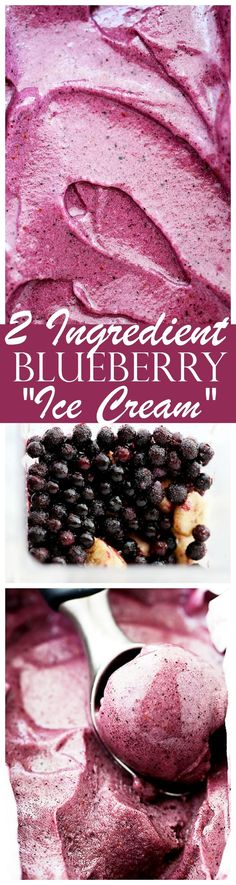 """Blueberry Banana Ice Cream (Nice Cream) – Instantly satisfy an ice cream craving with this quick, easy, and healthy recipe for a delicious Blueberry Banana """"Ice Cream"""", also known as """"nic (Desserts Quick 3 Ingredients) Ice Cream Desserts, Mini Desserts, Frozen Desserts, Ice Cream Recipes, Frozen Treats, Vegan Desserts, Delicious Desserts, Dessert Recipes, Dessert Ideas"""
