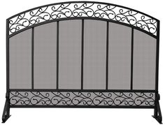 Uniflame® Arched Black Single Panel Wrought Iron Fireplace Fire Screen with Hammered Copper Top Trim