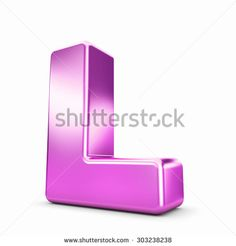 3d pink purple metal letter L isolated white background