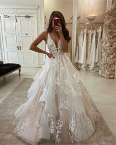 Wedding Dresses Lace Long Stunning Ball Gown V Neck Open Back Ivory Tulle Wedding DressesLace Bridal Gown.Wedding Dresses Lace Long Stunning Ball Gown V Neck Open Back Ivory Tulle Wedding DressesLace Bridal Gown Ivory Lace Wedding Dress, V Neck Wedding Dress, Top Wedding Dresses, Wedding Dress Trends, Princess Wedding Dresses, Bridal Lace, Wedding Ideas, Bridal Dresses, Most Beautiful Wedding Dresses