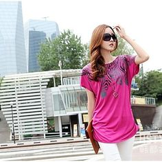 Fashion Purple T-Shirt  Specifications CLOTHING STYLE Casual   Season Summer   Top Style T-shirt   Color Purple, White   THICKNESS Thin   Fabric Polyester, Spandex, Cotton   Look After Me Machine wash   Size One-Size   Top Length Regular   Sleeve Length Short Sleeve   Clothing Shoulder Width (cm)23   Clothing Bust (cm)124  Clothing Length (cm) 76