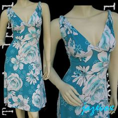 NEW Womens BLUE White Hawaiian Floral Flowers Pattern Print V-Neck Summer DRESS $39.98