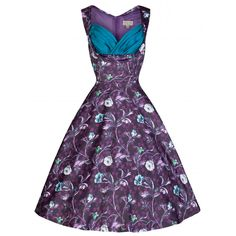 50's style gown | ... Ophelia' Moonlit Floral Forest Print 50's Vintage Style Party Dress