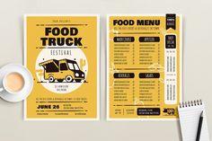 Food Truck Festival - Menu Template #menu #takeaway #drive Restaurant Menu Template, Restaurant Menu Design, Food Menu Design, Flyer Design, Food Truck Menu, Food Trucks, Food Truck Festival, Marketing Flyers, Cafe Menu
