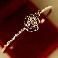 New Fashion Women Crystal Cuff Bracelet Jewelry Rhinestone Camellia Bangle