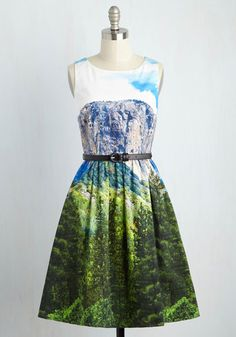 Though your tastes may change with the seasons, this vibrant A-line is a piece you're thrilled to flaunt all year 'round. Part of our ModCloth namesake label, this perfect-fit midi features pockets and a stunning photorealistic print of a mountainous landscape, radiating an artistic elegance that is truly timeless!