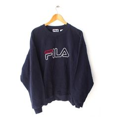 FILA Big Logo Perugia Italia 90's Vintage Sweater Blue Sweater... ($32) ❤ liked on Polyvore featuring tops, hoodies, sweatshirts, vintage sweatshirts, vintage crewneck sweatshirt, fila sweatshirt, fila top and fila pullover