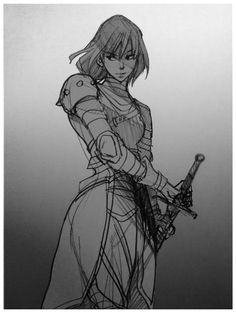 Kel Sheaths Her Sword by *Maseiya on deviantART [fighter] Female Character Design, Character Design References, Character Design Inspiration, Character Concept, Character Art, Concept Art, Reference Manga, Sword Poses, Female Knight