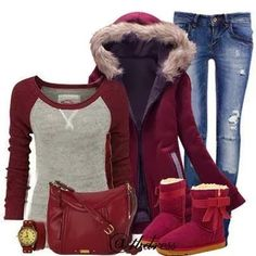 Cozy and Comfy Outfit,Comfortable and Warm Coat, Sweater, Jeans, Ugg boots, Handbag