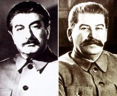 "historicaltimes: ""A side by side of Joseph Stalin and his body double Felix Dadaev 1940 """