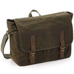 Laptop compatible up to Internal slip pocket. Canvas Messenger Bag, Laptop Messenger Bags, Waxed Canvas, Cotton Canvas, Vintage Canvas, Wash Bags, Green Bag, Luggage Bags, Olive Green