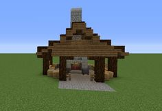 Asian Blacksmith - GrabCraft - Your number one source for MineCraft buildings, blueprints, tips, ideas, floorplans! Minecraft Roof, Minecraft City Buildings, Minecraft Forge, Minecraft Seed, Minecraft Plans, Minecraft Construction, Minecraft Tutorial, Minecraft Blueprints, Minecraft Crafts