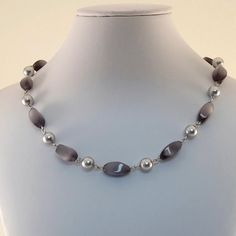 Gray Silver Choker Necklace Czech Glass Glass by CinLynnBoutique, $28.00