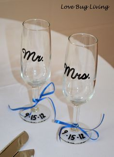 Personalized Mr. & Mrs. Wedding Champagne Toasting Flutes Glasses for Bride and Groom.  Find flutes at the dollar store for $1 - Love Bug Living