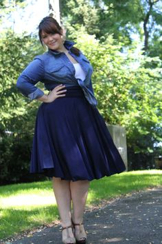 Melissa in the Navy Blue Mdid Convertible Dress in the Sandy Skirt Style