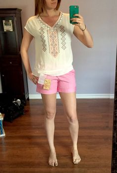 Skies are Blue Misa Embroidered V-Neck Top & Dear John Finnegan Roll Cuff Chino Short Stitch Fix 6 #stitchfix