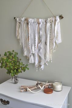 Ribbon Wall Hanging: Easy DIY Project using old ribbons, and branch of a tree. Include lace, tassels and old keys for aded interest. Yarn Wall Art, Diy Wall Art, Diy Wall Decor, Ribbon Wall, Diy Ribbon, Ribbon Crafts, Yarn Crafts, Sewing Crafts, Craft Ideas