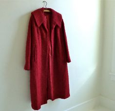 Cranberry Red Boucle Coat by marybethhale on Etsy, $80.00